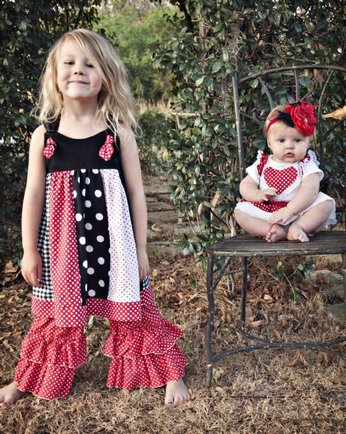 girls valentine knot dress 6 months to 12 years matches lil sis onesie brother outfit pair with a long sleeve shirt for cooler weather - Girls Valentine Dress