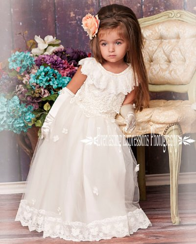 Vintage Ivory Lace Flower Girl Dress 18 Months to 8 Years