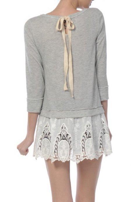 Shabby Chic Lace Bottom Sweatshirt