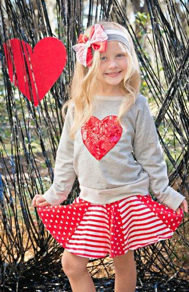 Sweetheart Sequin Sweatshirt U0026 Skort Setu003cbru003e5 To 14 Yearsu003cbru003e