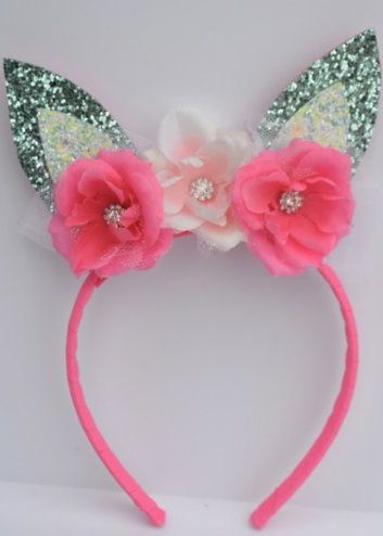 Couture Bunny Ears Headband Mint/Easter Egg
