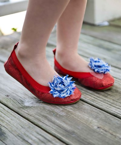 Girls 4th Of July Red Sparkle Ballet Shoe Size Infant 5 To Youth 4