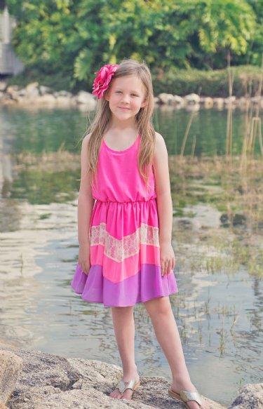 Tween Color Block Spring Dress 12 Years Only