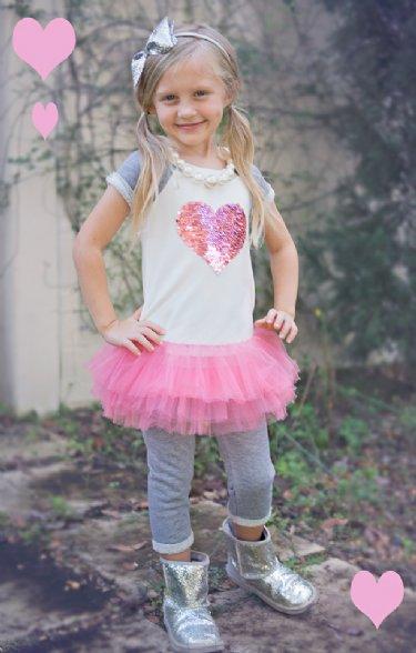 girls flip sequin heart tutu dress pant set12 months to 6