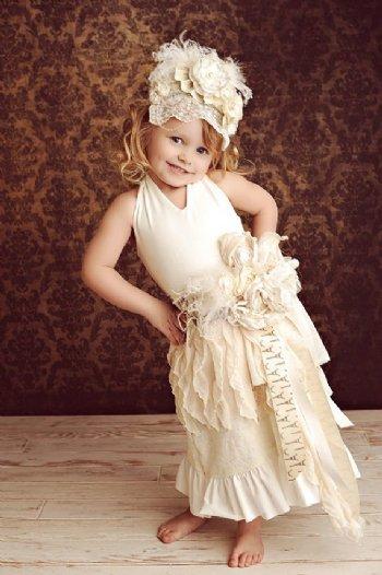 Couture Ivory Shabby Chic Sash Amp Headband