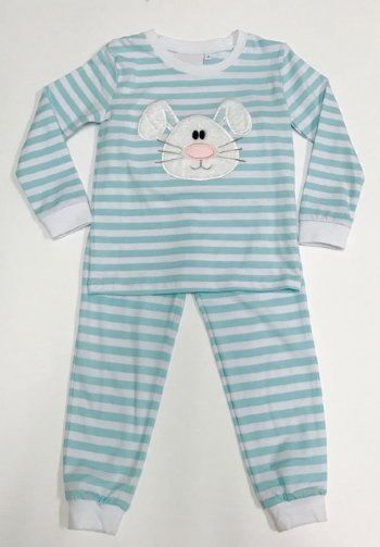 83a7f3d980 Aqua Stripes Bunny Unisex Pajama Set BR 12 Months to 10 Years BR ...