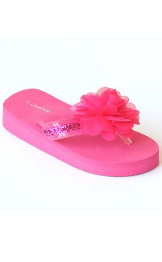 88873a6f96bc8c Girls Fuchsia Fancy Flower Flip Flop Toddler 7 to Youth 4 Now in Stock