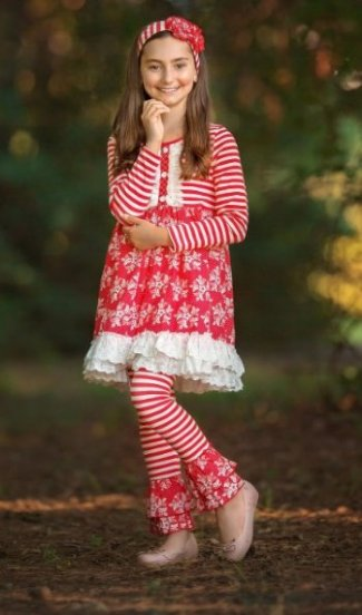 16bfa41272 Winter Wonderland Ruffle Eyelet Trim Dress w  Ruffle Legging BR 12 Months  to ...