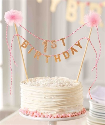 Pink Gold Sparkle Birthday Cake