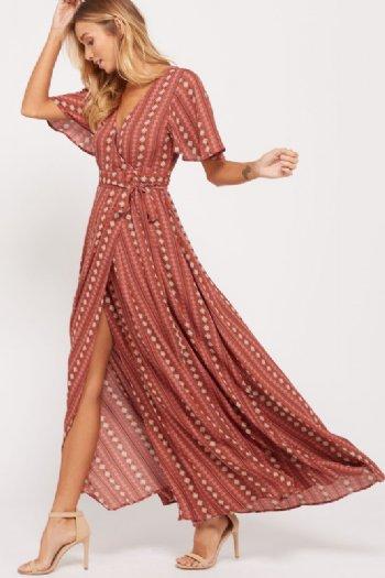 Women S Printed Wrap Maxi Dress Preorder