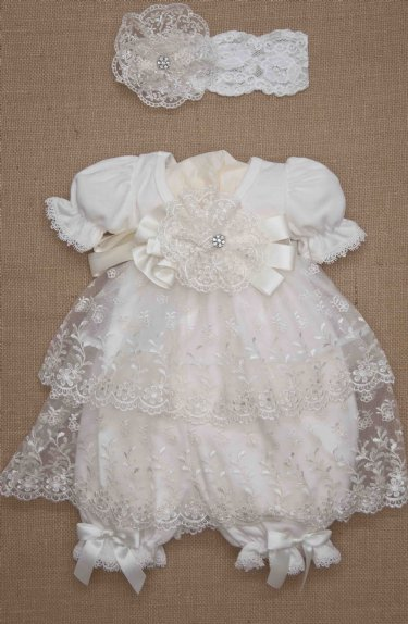 Vintage Baby Ivory Lace Bloomer Dress Newborn To 9 Months