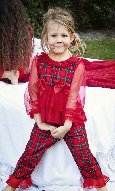 Girls Fancy Christmas Pajamas With Sheer Sleeve 12 Months Only