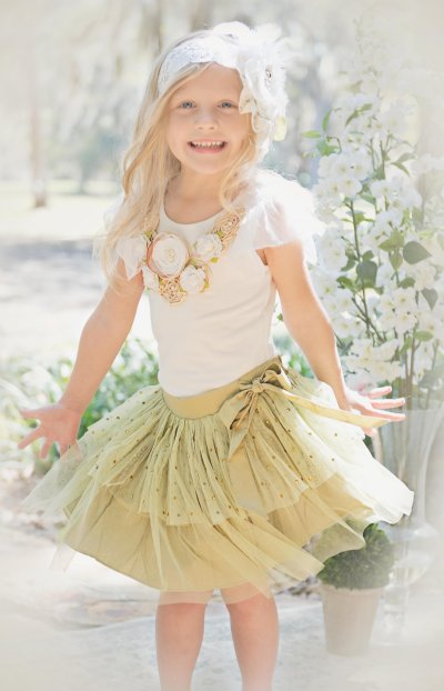 5430b392a6 Vintage Sage Tulle & Crystal Skirt<BR>Now in Stock