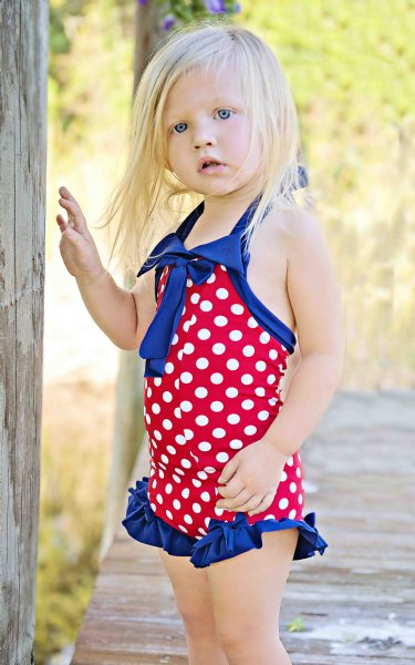 Girls Vintage 1920 S 4th Of July Swimsuit 3 6 Months Only