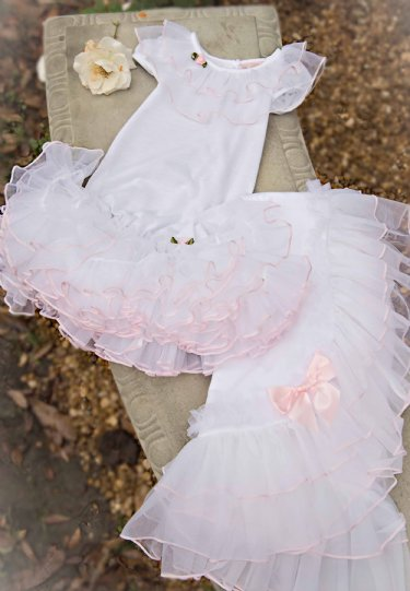 Stunning Infant Ruffled Princess Gown Matching Blanket