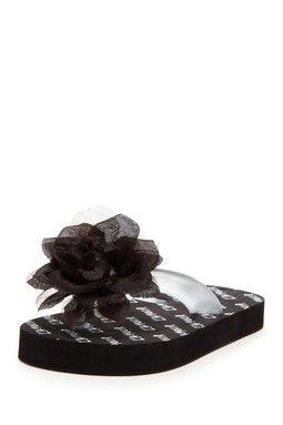 Girls black fancy flower flip flop now in stock mightylinksfo
