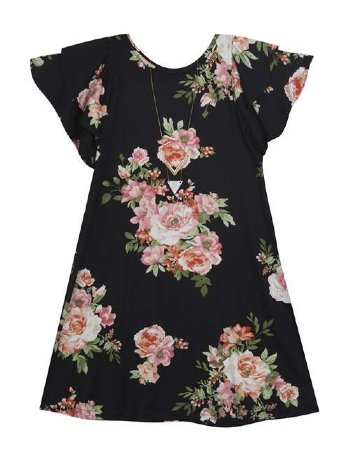 03c86beaf8 Floral Cold Shoulder Dress w  Necklace BR 7 to 16 Years BR ...
