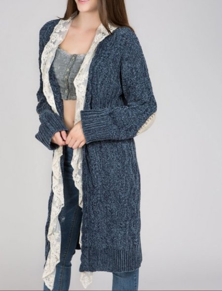 Women's Chenille Patches and Lace Cardigan Now in Stock