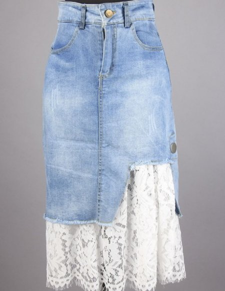 authentic quality presenting competitive price Women's Shabby Chic Lace Layered Denim Skirt Now in Stock