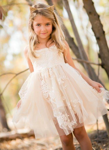 Girls White Empire Dress