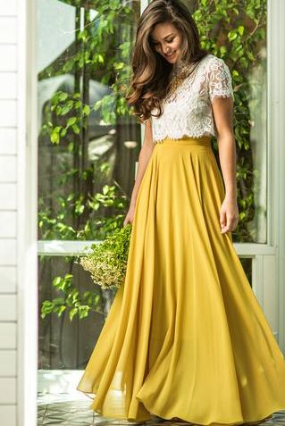 4689173a7 Women's Vintage Yellow Flowy Maxi Skirt Now in Stock
