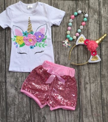 4ca3f4926daf Girls Unicorn Outfit Sequin Short Set Preorder ...