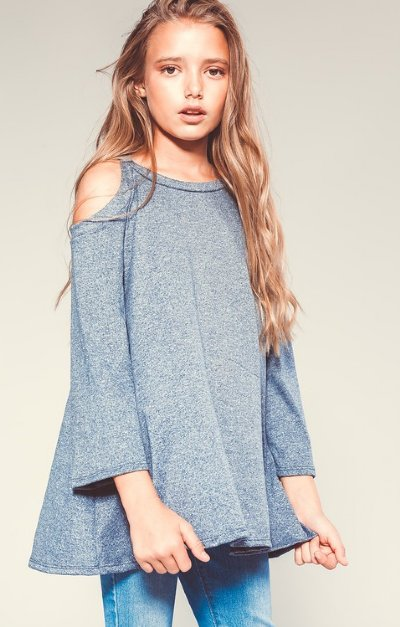 ede35f960b109 Girls Denim Blue Cold Shoulder Top 5 to 14 Years Now in Stock