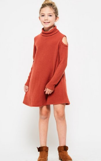 08c04b85c Girls Burnt Orange Cold Shoulder Sweater Dress 5 to 14 Years Now in Stock