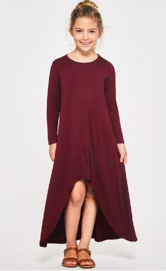 girls burgundy high low maxi dress preorder5 to 14 years