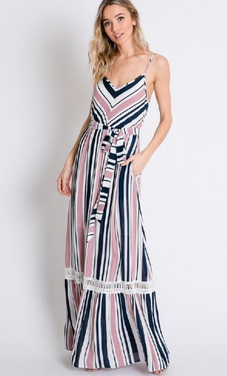 00611cf838 Women s Stripe Maxi with Lace Detail BR Now in Stock