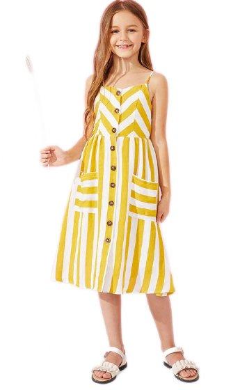 554c7e300f9 Tween Mustard Summer Stripe Pocket Dress Preorder br 6 to 12 Years ...