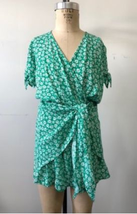 439e14230a4a Tween Kelly Green Wrap Romper Preorder 8 to 14 Years