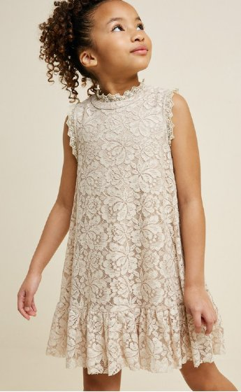 4bf11f474cda Tween Natural Lace Swing Dress Preorder br 7 to 14 Years ...