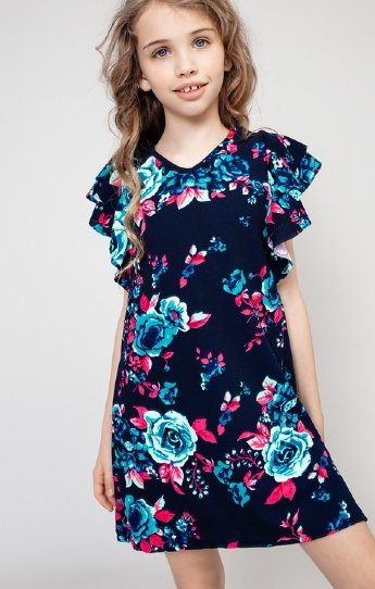 9100dbe9e07 Girls Blue Pink Floral Dress Preorder br 5 to 12 Years ...