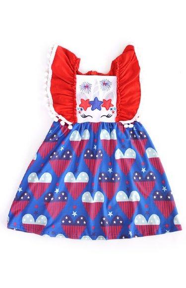 d14894499ec Girls Angel Sleeve Patriotic Unicorn Dress BR 2T to 7 Years BR  ...