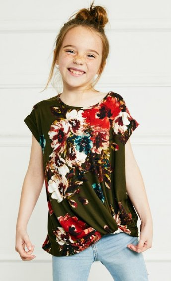 a2bb302019e Girls Olive Floral Knot Top Preorder br 5 to 12 Years ...