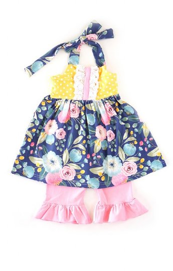 3b4d9593a866e7 Girls Bright Floral Dress & Capri Set Preorder<br>12 Months to 7 Years ...