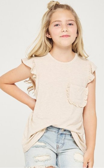 1e16065d53001 Girls Oatmeal Pocket Tee Preorder<br>4 to 12 Years ...