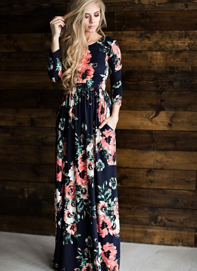 db8fb9e82e65 Women's Floral Pocket Maxi Dress Navy Now in Stock