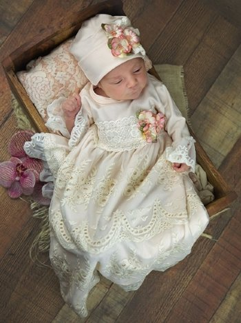 6c0ddf3fa1a Haute Baby 2019 Peach Blush Layette Gown   Cap Set BR Now in Stock ...