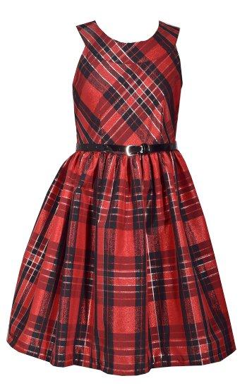 tween plaid taffeta dress w belt7 to 16 years