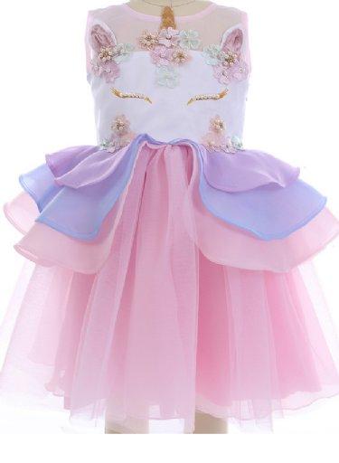 Girls Fancy Unicorn Party Dress In PinkBRNow Stock