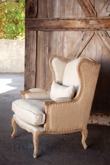 Shabby Chic Burlap Amp Linen Wingback Chair