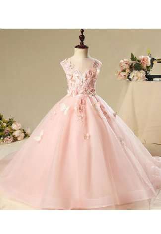 90323a38a Girls Pink Butterfly Long Trailing Gown Preorder br 12 Months to 14 Years  ...