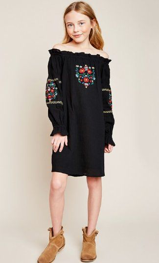 efdc61288f7d1 Tween Black Boho Embroidered Dress<br>7 to 14 Years<BR>Now