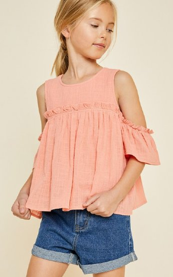 054a2b2a43a573 Tween Coral Cold Shoulder Top Preorder<br>7 to 14 Years
